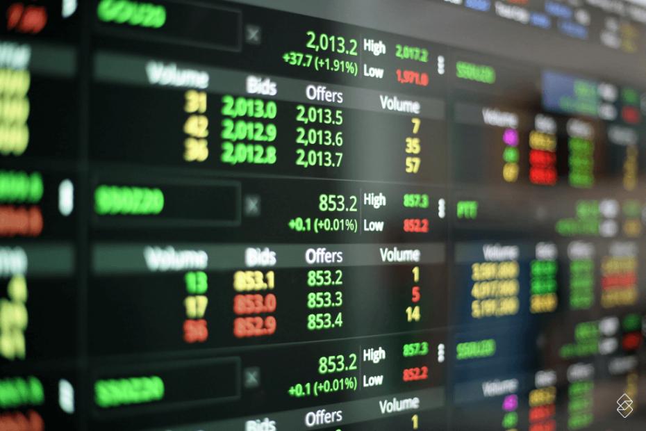 painel que mostra os resultados de investir na bolsa de valores